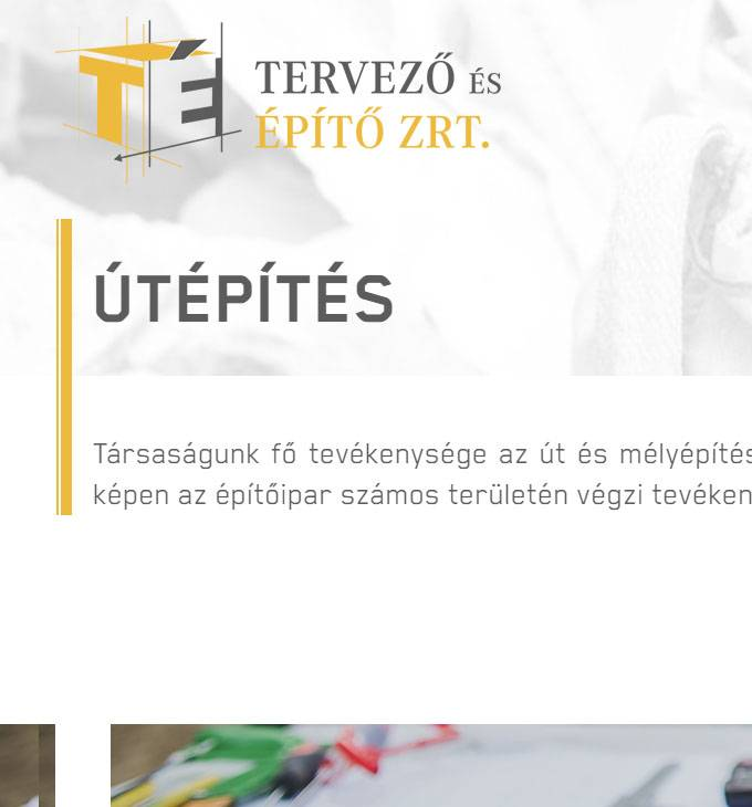 Tervezoesepito.hu - útépítés, mélyépítés - Reszponzív honlapkészítés