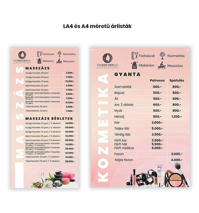 Thesolution.hu - A4, LA4, 4 oldalas LA4 szóróanyag, időpontkártya és facebook borítókép készítés