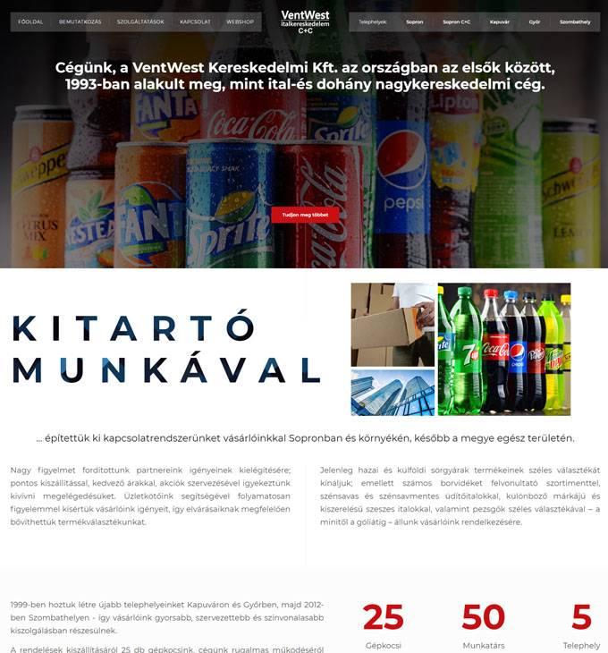 Ventwest.hu - Sörök, borok, italok, üdítők - reszponzív honlapkészítés
