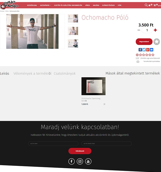 OCHO MACHO zenekar reszponzív webáruházának elkészítése
