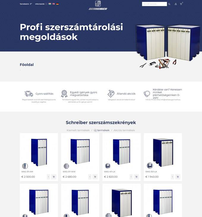 Werkzeugschrank.eu - Profi szerszámtárolási megoldások - reszponzív webáruház készítés