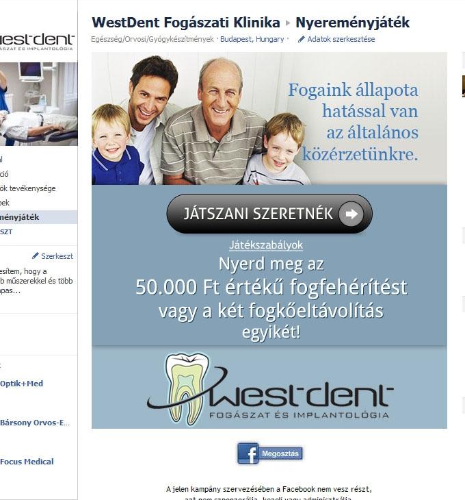 Facebook nyereményjáték WestDent fogászat