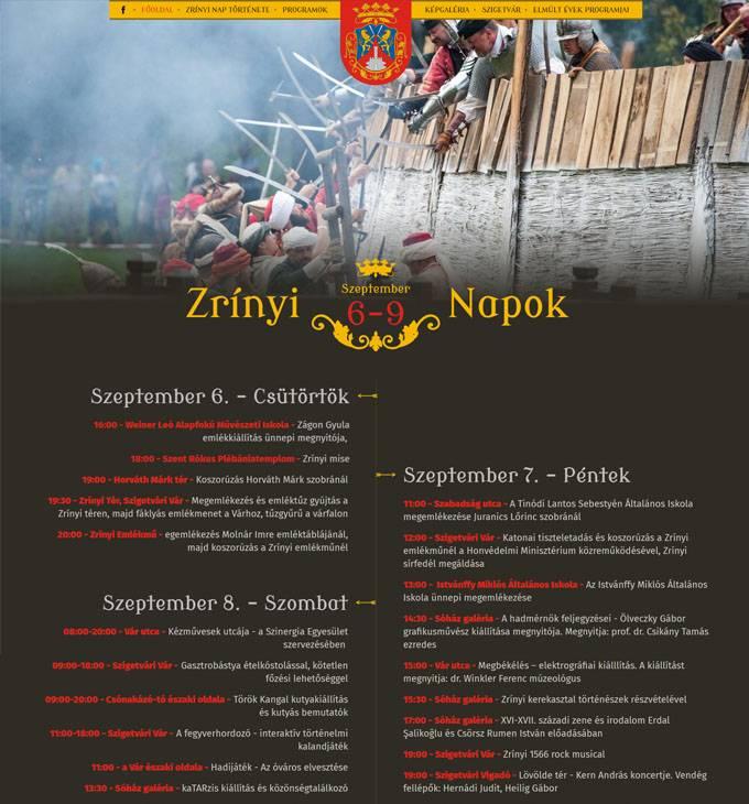 Zrinyinap.hu Szigetvári Zrínyi Napok oldala